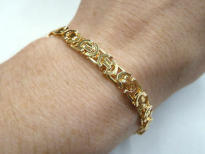 """New 9ct Solid Yellow Gold Flat Byzantine Bracelet 12.1 grams 7 1/2"""" long"""