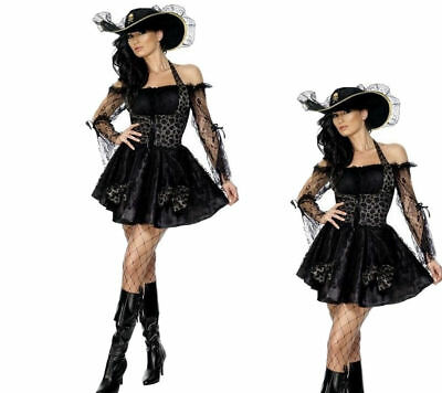 Fever Sexy Swashbuckler Ladies Pirates Fancy Dress Costume Sizes 8-18