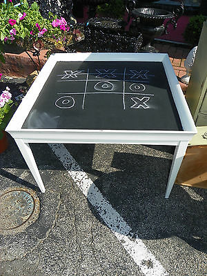 Vintage Reclaimed Shabby Chic Painted Off Light White Chalkboard Table