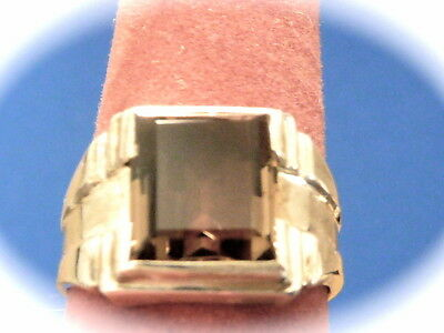 Men's sterling silver smokey quartz ring new old found jewelry stock size 8.75
