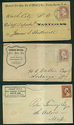 1860's 3 Cent Washington(Perf. & Imperf.) Fire Insurance Co. Advertising Covers
