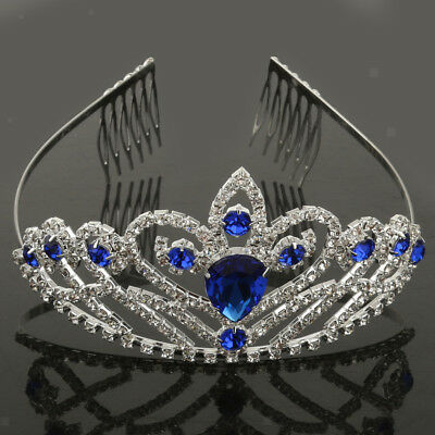 Bridal Tiara Diamante Crystal Crown Wedding Party Prom Headband Silver Blue