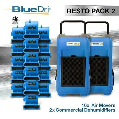 BlueDri® Resto Pack 2 | 2 BD76 Commercial Dehumidifiers 16 One-29 Air Mover Blue