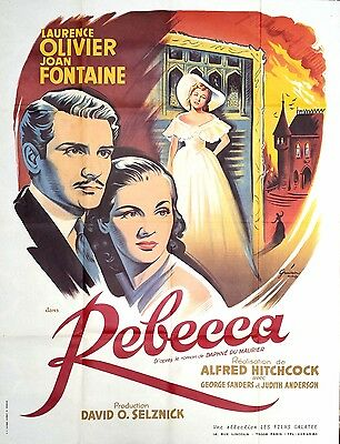 R70s REBECCA Laurence Olivier Joan Fontaine Hitchcock French 47x63 film poster
