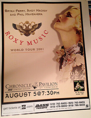 Nice Mint Vintage 2001 Roxy Music Bryan Ferry Concord California Concert Poster
