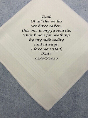 Personalised Men Handkerchief Hankie Wedding Gift Dad Gents Favourite Walk