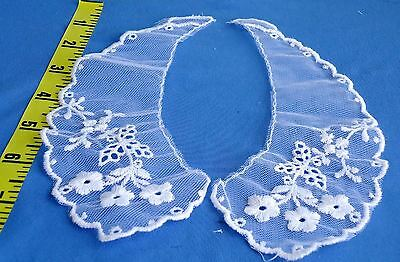 Vintage White Collar Embroidered Net Lace Applique #C30