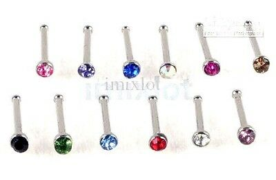 Nose Stud Straight 7mm Stem 2mm Crystal Gem 316L Bar Screw Ring Jewellery 20g