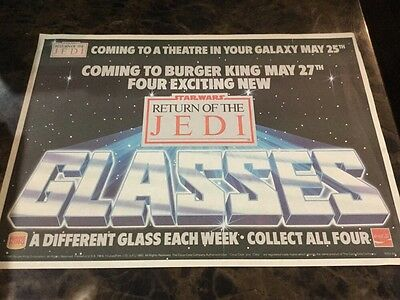 Star Wars 1983 ROTJ Burger King Coca Cola Tray Placemat Advertising Piece