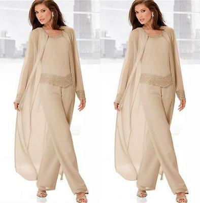 Chiffon Three Pieces Jewel Neck Mother of the Bride Pant Suits with Jackets