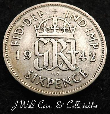 1942 George VI .500 Silver Sixpence 6d Coin - Great Britain...