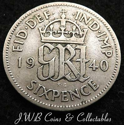 1940 George VI .500 Silver Sixpence 6d Coin - Great Britain.