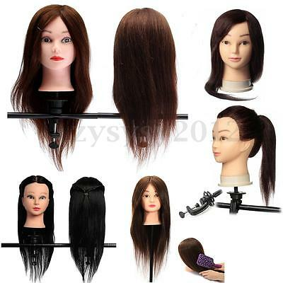 100% Real Human Hair Hairdressing Practice Training Head Doll Mannequin Clamp