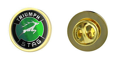 Triumph Stag Green Logo Clutch Pin Badge Choice of Gold/Silver