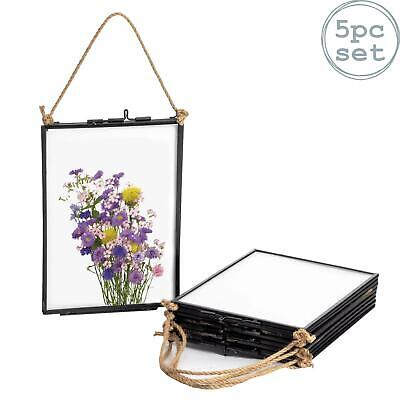 Hanging Photo Frame Vintage Glass Picture Wall Display - 5x7 Photos - Pack of 5
