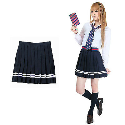 Pleated Skirt London Pop _ Classic Design (Navy x White Line), Teens Ever