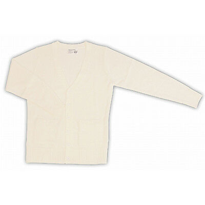 School Cardigan with Pockets (White), TE-11AW