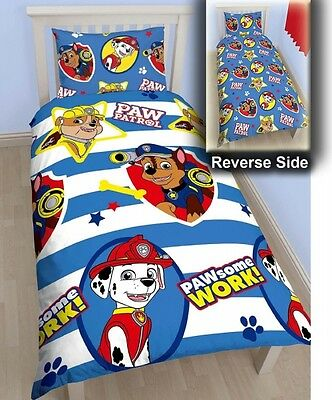 Paw Patrol 'Pawsome' Reversible Rotary Single Bed Duvet Quilt Cover Set New Gift