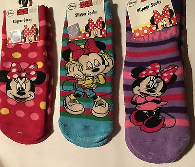 Girls Slipper Socks with Minnie Mouse detail in 3 Colours & 3 sizes
