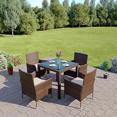Brown Rattan Garden Furniture Dining Table Set 4 6 8 Chairs Conservatory Patio