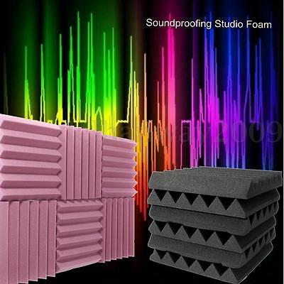 6x Acoustic Studio Foam Soundproofing Absorption Home Room Treatment Wedge Tiles