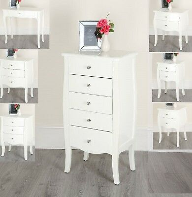 White Shabby Chic Console Side Table French Bedroom Hallway 2 3 5 Chest Drawers