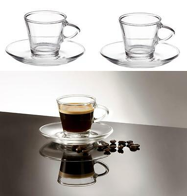 2 Clear Small Glass Espresso Coffee Cups & Saucers 80ml Set of 2 Gift- Boxed UK