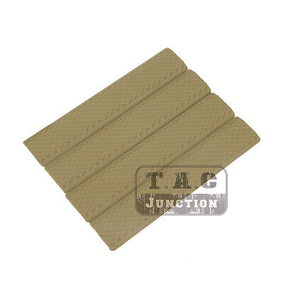 "Tactical KeyMod 6.25"" Rubber Rail Covers Textured Soft Anti Slip Covers 4 Pack"