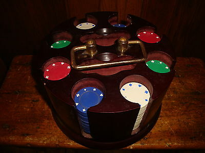 Vintage Wood Poker Chip Caddy Carousel With Clay Chips