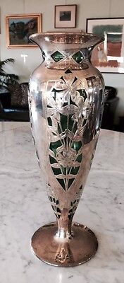 "Alvin, Silver Overlay Vase on hand blown.  Emerald Green Glass, 1890's, 14"" high"