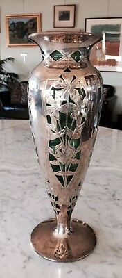 """Silver Overlay Vase on Emerald Green Glass, 1890's, 14"""" high"""