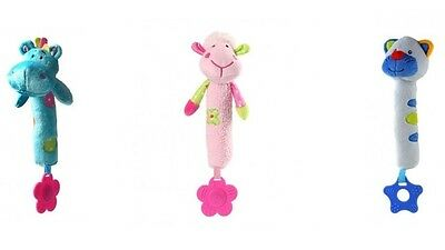 Baby Squeaker Toy With Teething Ring - Teether - Soother - Comforter - 3 Designs