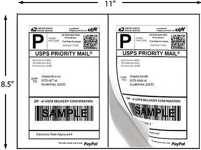 "3200 Half Sheet Labels 8.5"" x 5.5"" Shipping Labels Premium Made in USA"