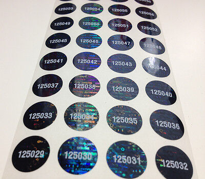 100 Round Numbered Tamperproof Black Tinted Hologram Void Labels Stickers