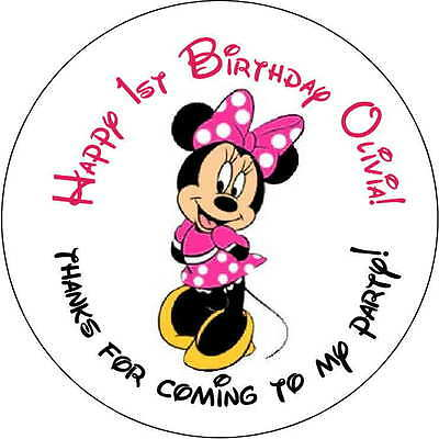 48 1st ears minnie mouse stickers Birthday Party 1.6 Inch Personalized  red pink