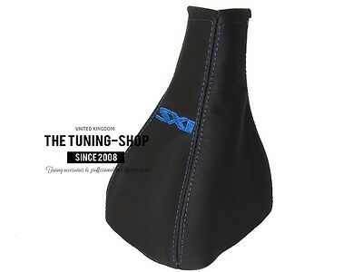 """For  Vauxhall Opel Corsa C 00-06 Gear Gaiter Black Leather Blue """"sxi"""" Embroidery"""