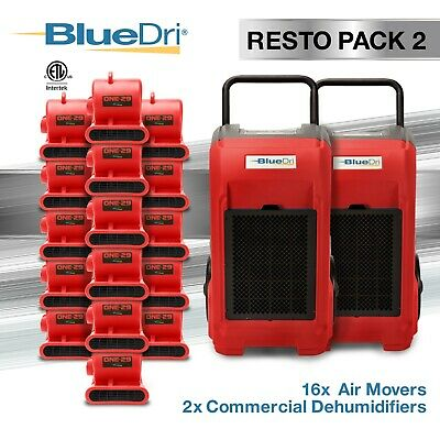 BlueDri® Resto Pack 2 | 2 BD76 Commercial Dehumidifiers 16 One-29 Air Movers Red