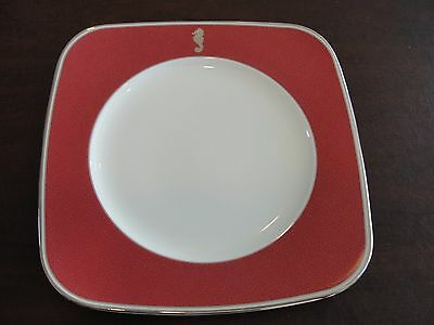 """New WATERFORD SEAHORSE RED 9 ACCENT PLATES SQUARE 9"""""""
