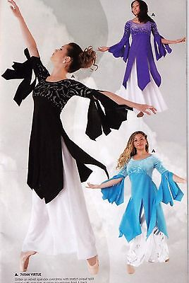 NWT Praise Velvet Overdress Liturgical Church Flyers Dance Rhinestone 4 Colors