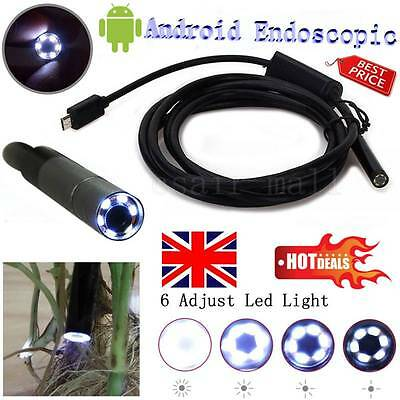 Mobile Phone Endoscope Borescope 6LED 2M Android Waterproof Inspection Camera