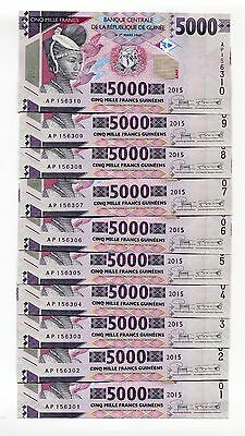 Guinea 5000 Francs 2015 P-New Unc Lot 10 Pcs