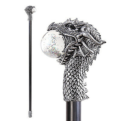 Ancient Fiery Dark Dragon Head LED Ball Walking Cane Celtic (Props)