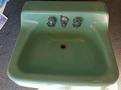 Vintage 1940's- 50's Sage Green Americam Standard Cast Iron Bathroom sink