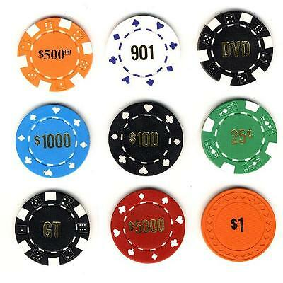 300 Custom Hot Stamped Poker Chips -  5 Styles To Choose From! *