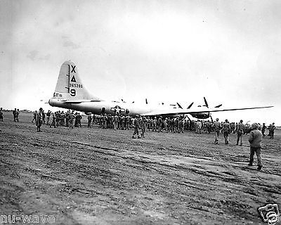 1945 Marines around 1st  B-29 Superfortress bomber to land on Iwo Jima Airfield