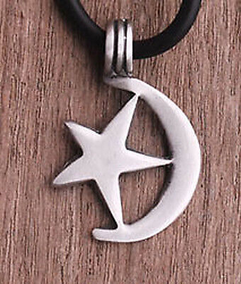 Mediterranean Crescent Moon and Star Islam Muslim Islamic Symbol Pewter Pendant