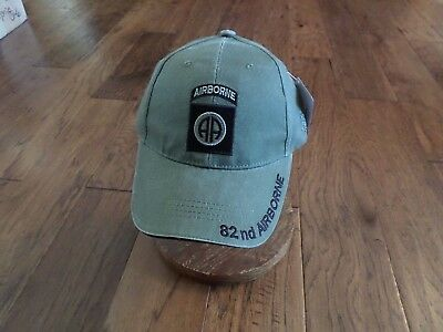 ARMY 82nd AIRBORNE HAT EMBROIDERED MILITARY BALL CAP STONE WASHED OD GREEN