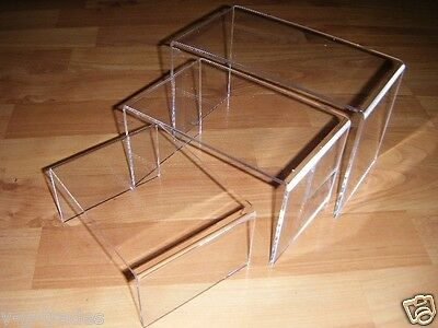 "LOT OF 6 New 2 Sets of 3 Clear Nested Jewelry Acrylic Risers 4"" Wide 4in  6 7"
