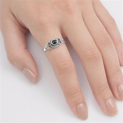 USA Seller Heart Ring Sterling Silver 925 Best Jewelry Selectable Black Onyx