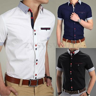 UK Men's Casual Shirt Slim Fit Short Sleeve Formal Dress Shirts T-Shirt Tops Tee